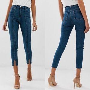 ASOS High Waisted Skinny Raw Hem Jeans Long Inseam